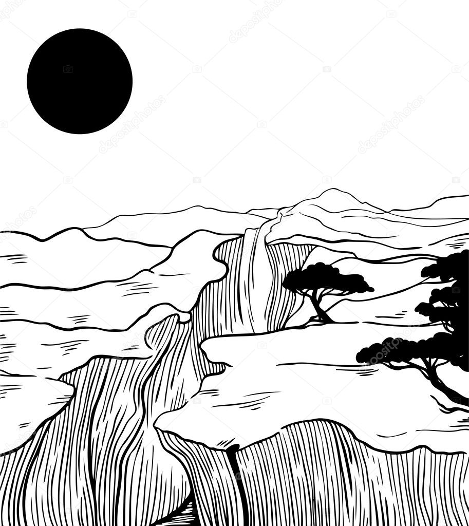 Abstract mountain landscape with moon