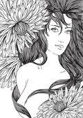 Fotografie ručně tažené krásná dívka s dlouhými vlasy a květiny