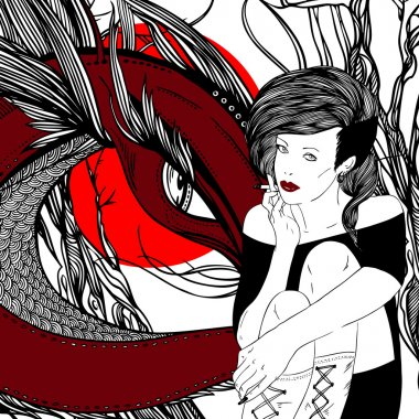 Surrealistic picture girl, dragon and dry tree