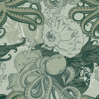 Seamless pattern with octopuses, mussels and seaweed