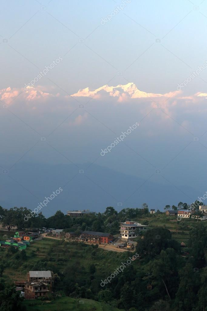 Bandipur town and Mount Ganesh I-Ganesh Himal Range. Nepal. 0390