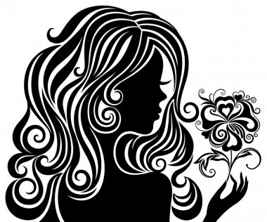 Silhouette of a girl with a flower