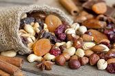 Fotografie Nüsse und getrocknete Früchte mix
