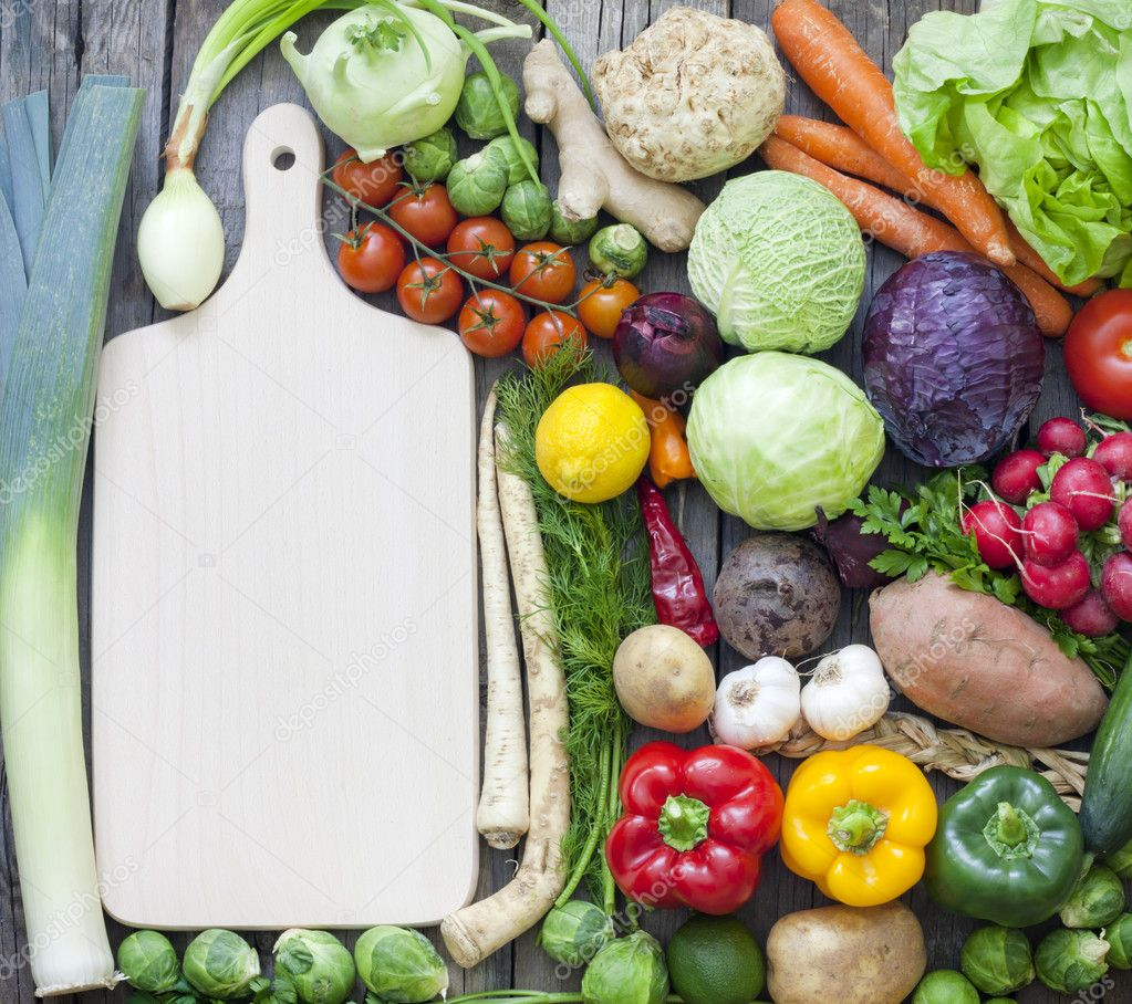 Superb Vegetables And Spices Vintage Border And Empty Cutting Board U2014 Stock Photo  #16993325