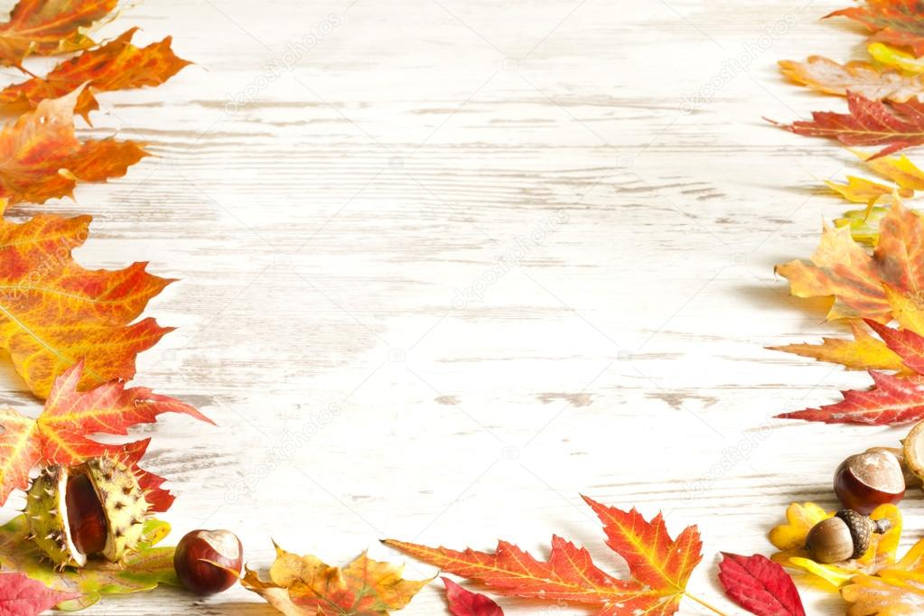 Autumn leaves on white boards background border — Stock ...