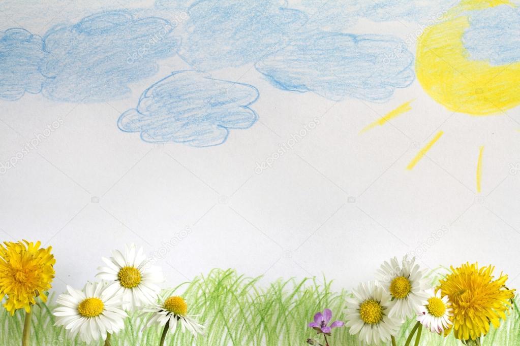 Soyut Ilkbahar çayır çocuk Boyama Ile Stok Foto Udra