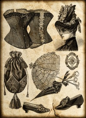 Vintage fashion accessories for lady in 1885
