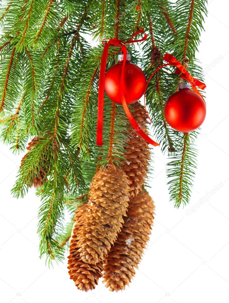 Decoraci n de navidad con bolas rojas y rama de rbol de for Arbol de navidad con bolas rojas