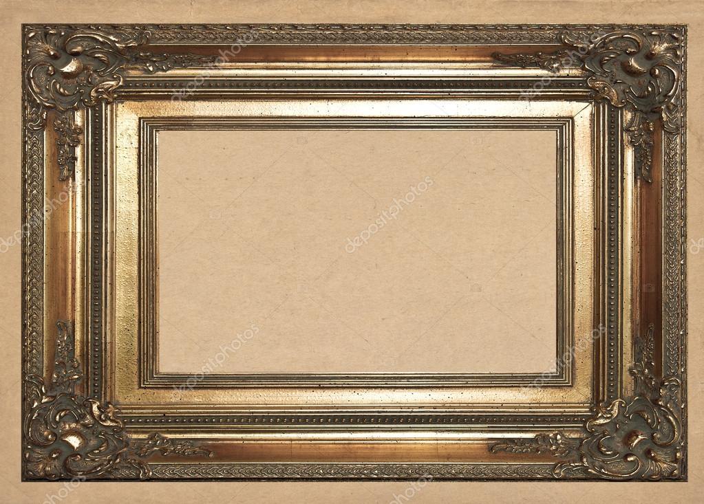 alte goldener Rahmen auf Vintage Tapete-Hintergrund — Stockfoto ...
