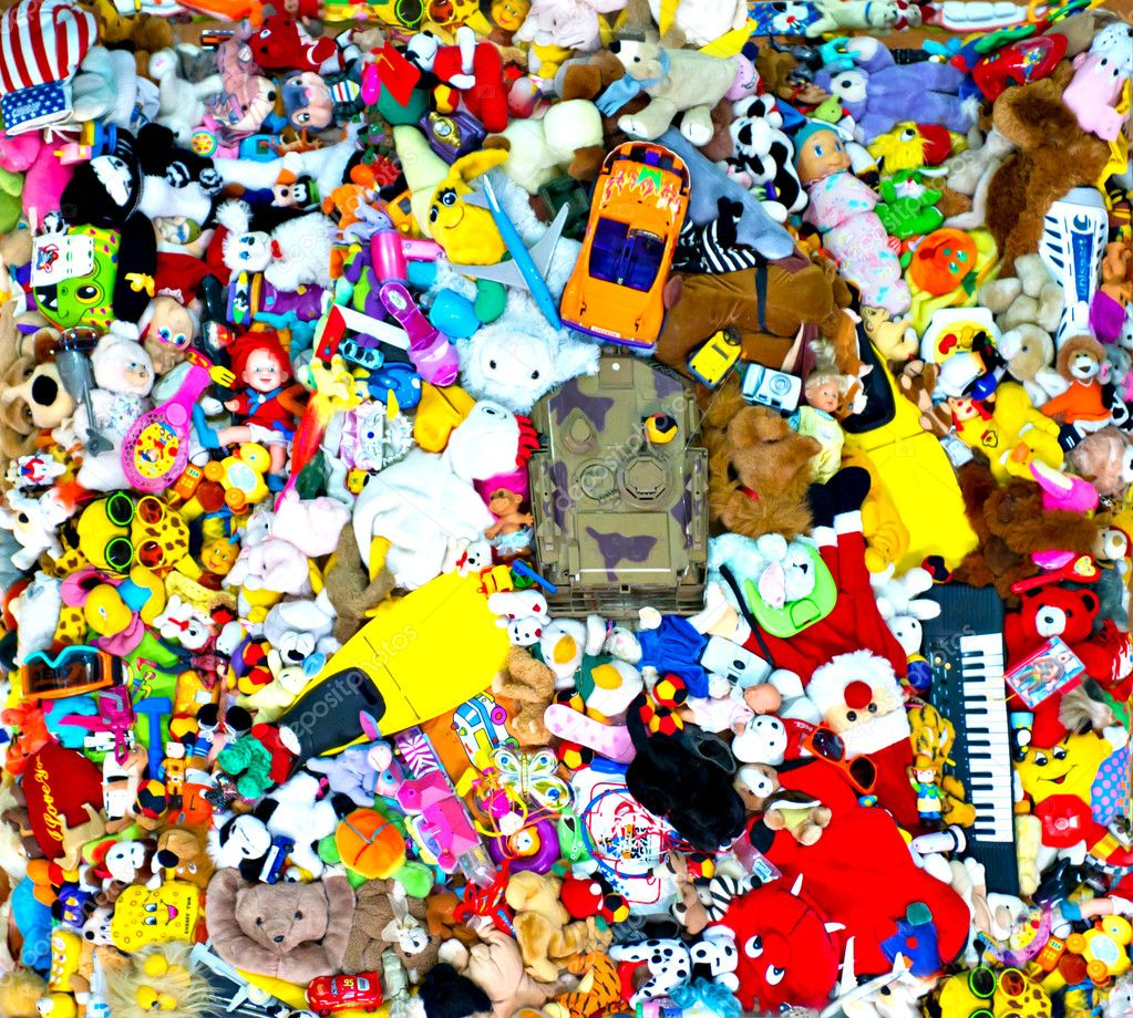 Background of multi color toys