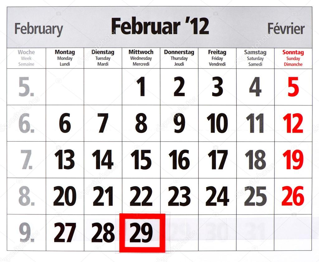 Leap Year Calendar With Red Mark On 29 February Stock Photo