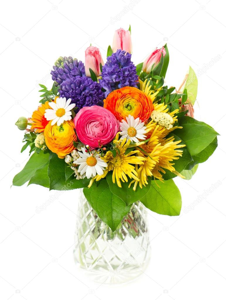 beautiful bouquet of colorful spring flowers — Stock Photo ...