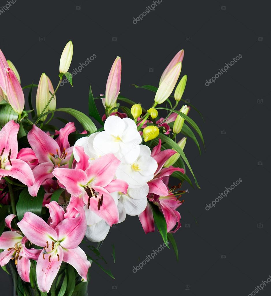 Pink lily and orchid flowers bouquet stock photo liligraphie pink lily and orchid flowers bouquet stock photo izmirmasajfo