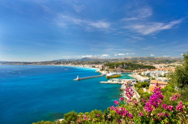 Panoramic view of mediterranean resort, Nice, Cote d