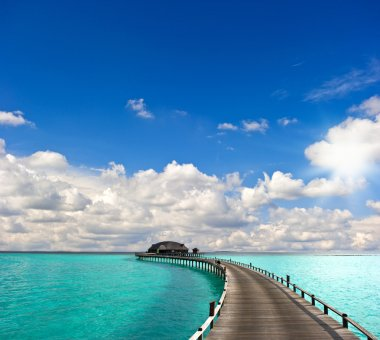 tropical seascape. overwater bungalow