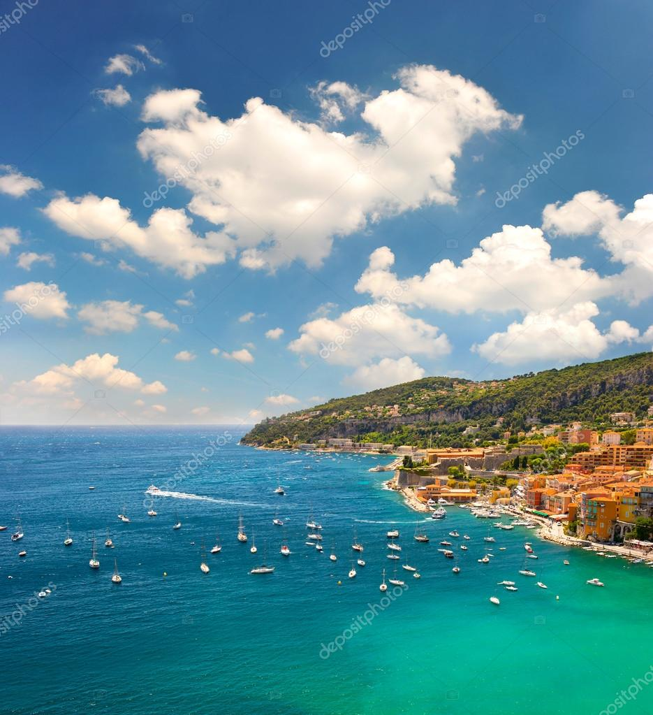 View of luxury resort and bay of Cote d azur