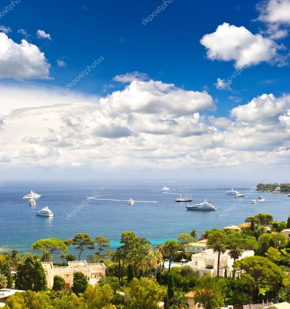 view of luxury resort and bay of Cote d'Azur. french riviera