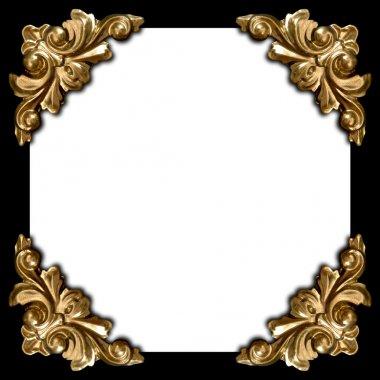 Golden elements of carved frame square