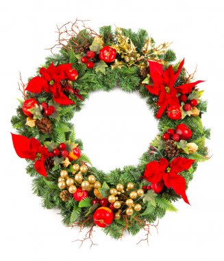Christmas wreath with poinsettia flowers and golden decoration