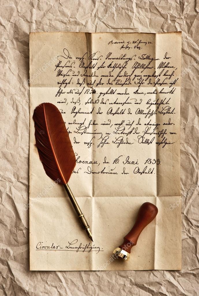 carta antiga com o quill pena vintage fotografias de stock