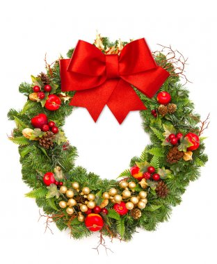 Christmas wreath with red ribbon and golden decoration