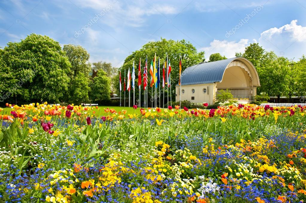 landscape with colorful flowers and blue sky. germany, baden-bad