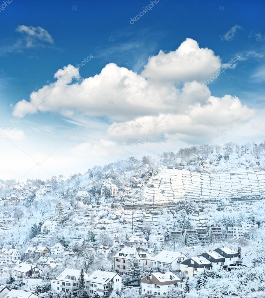 European urban winter landscape with snow