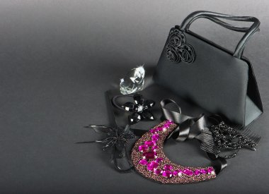 black bag with woman accessories