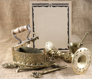 Vintage background with old things stock vector