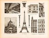 Vas szerkezetek. Vintage illusztrációja a Meyers-1894