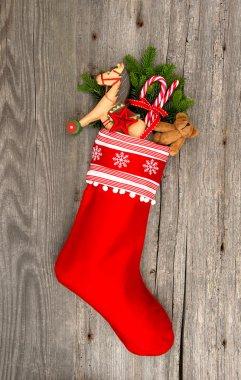 Christmas stocking with nostalgic vintage toy decoration
