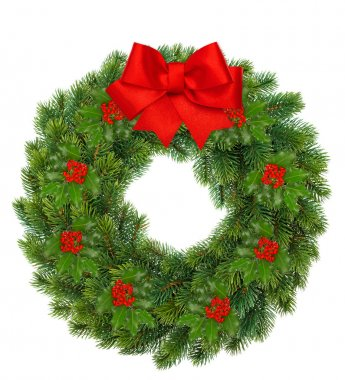 Christmas wreath with holly berry and red ribbon bow