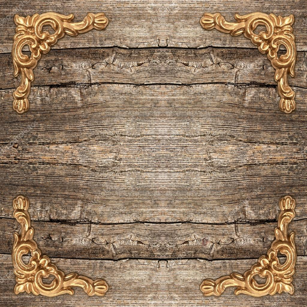 rustic wooden background with golden corner — Stock Photo ...