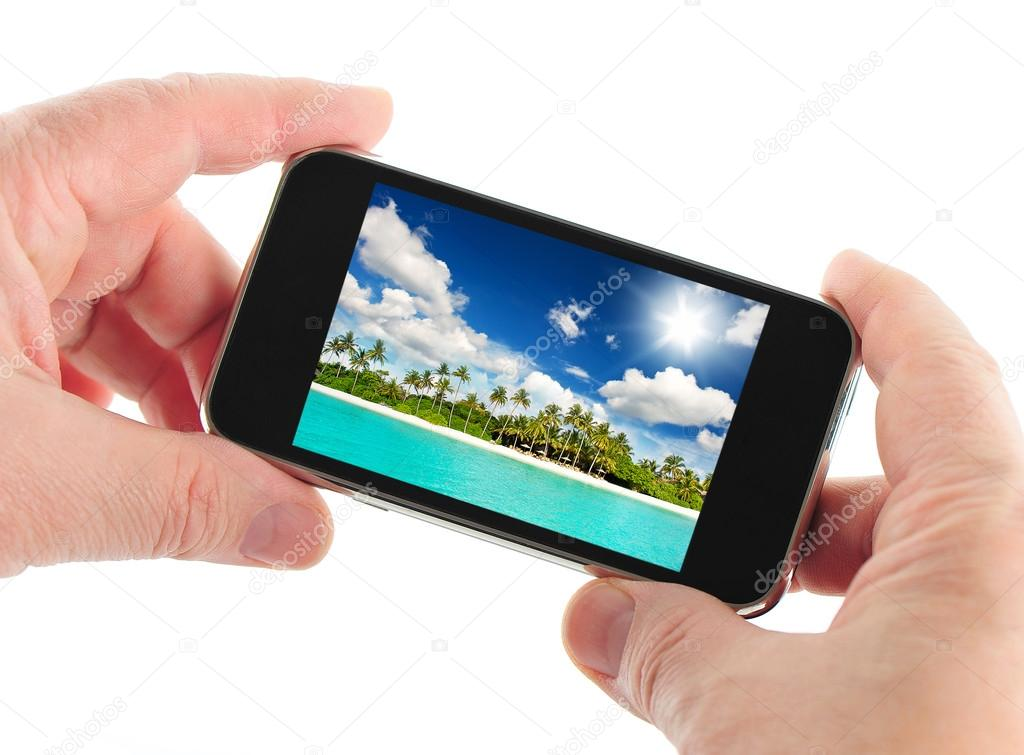mobile phone with taking picture. travel concept