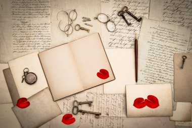open book, antique accessories, old love letters