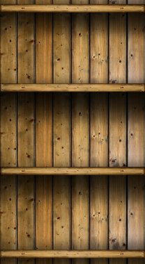 empty vintage rustic wooden shelves