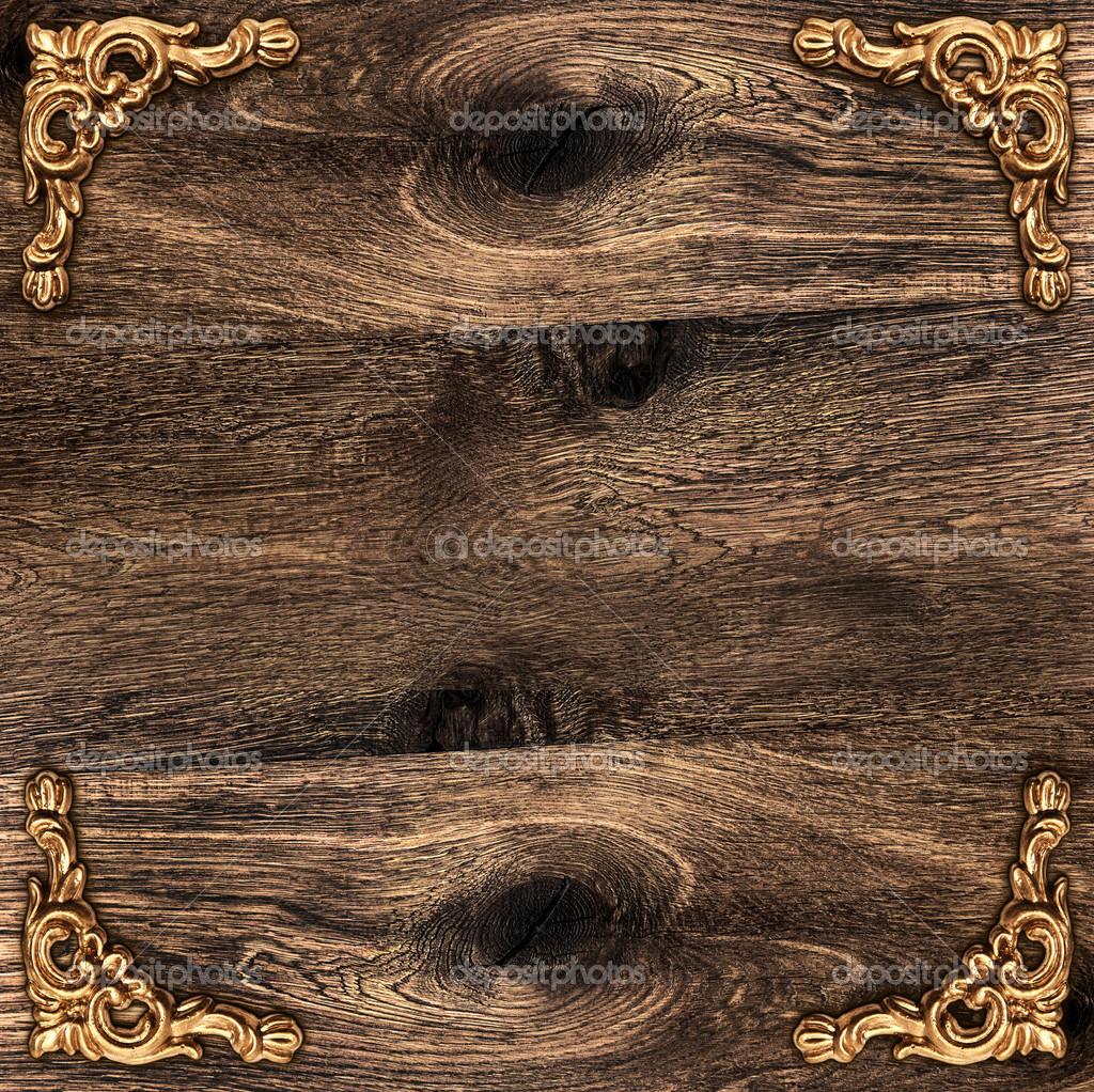 fondo de madera rstica con la esquina de oro foto de stock 21876483
