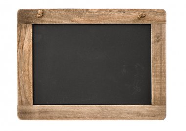 vintage blackboard with wooden frame isolated on white