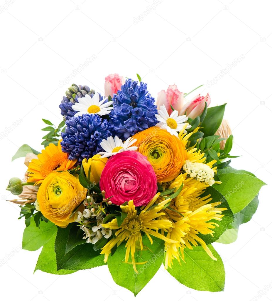 Bouquet Of Colorful Spring Flowers Isolated On White Stock Photo
