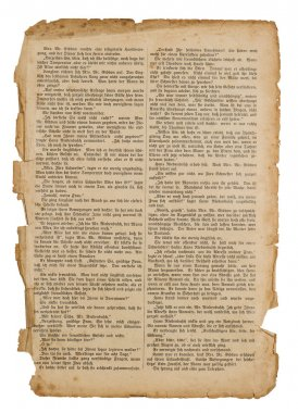 antique book page isolated on white