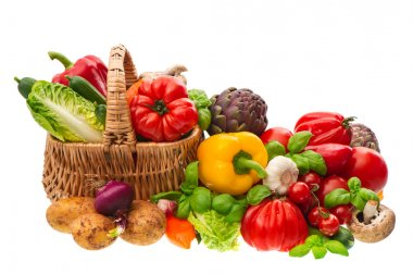 fresh vegetables. shopping basket. healthy nutrition