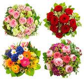 Fotografie čtyři barevné kytice na bílém pozadí