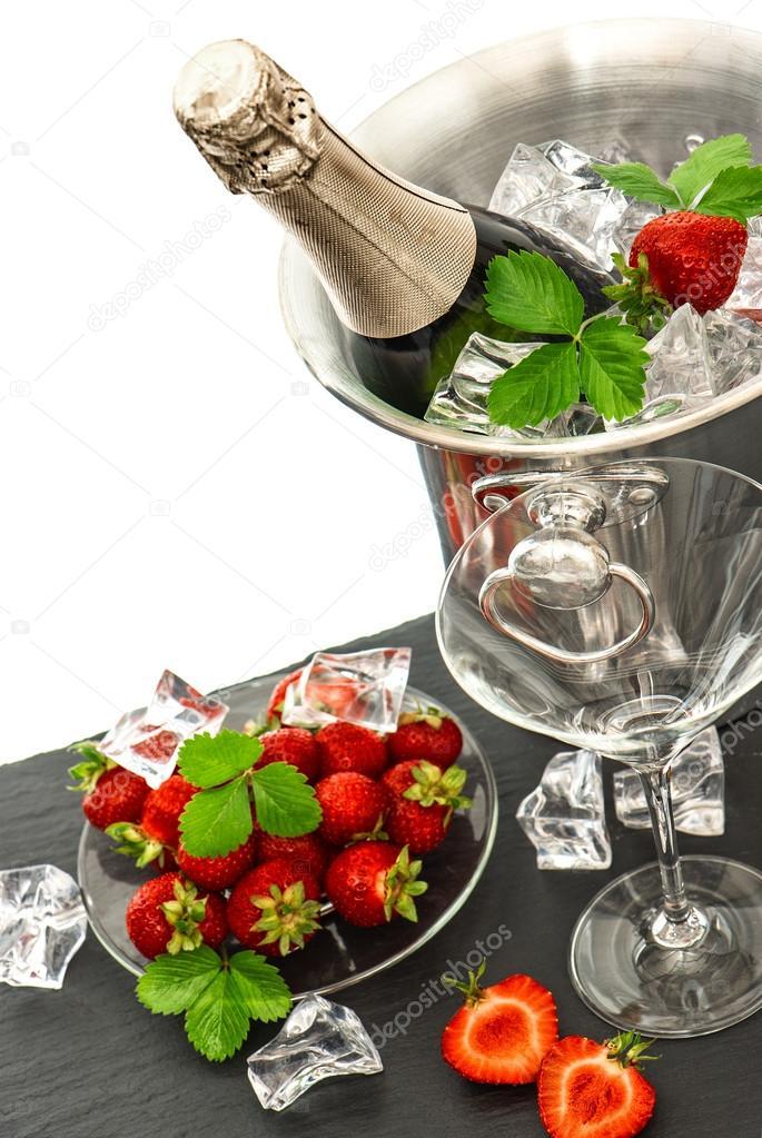champagne y fresas