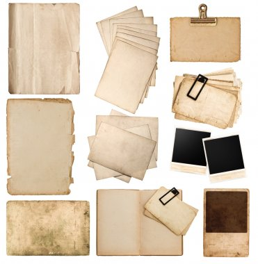 Various old paper sheets and frames