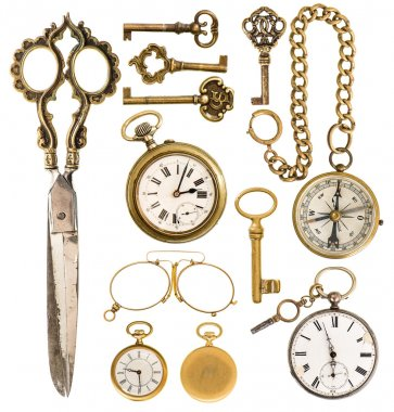 golden vintage accessories. antique keys, clock, scissors, compa