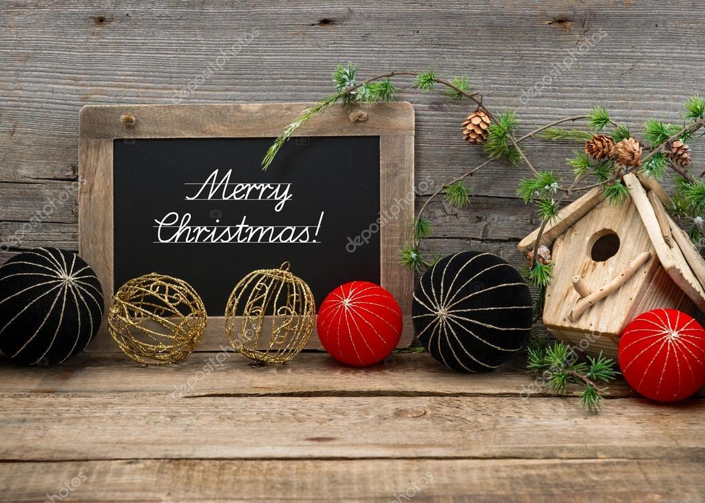Decoraci n de navidad vintage con pizarra y bolas fotos - Decoracion navidad vintage ...