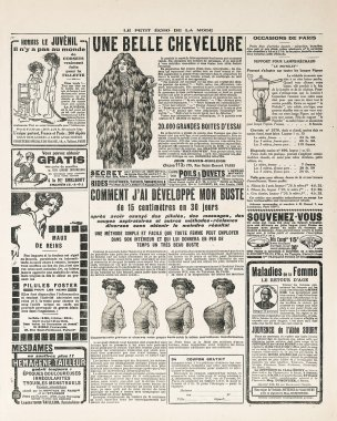 Newspaper page with antique advertisement paris ca. 1919
