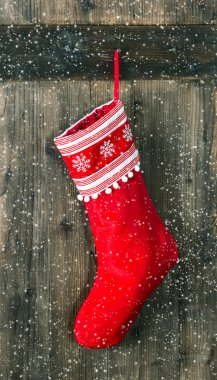 red sock for Santa gifts. christmas stocking
