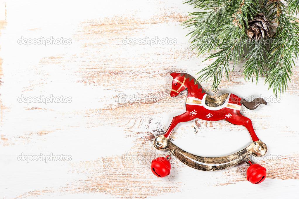 Vintage Weihnachten Dekoration Schaukelpferd — Stockfoto ...
