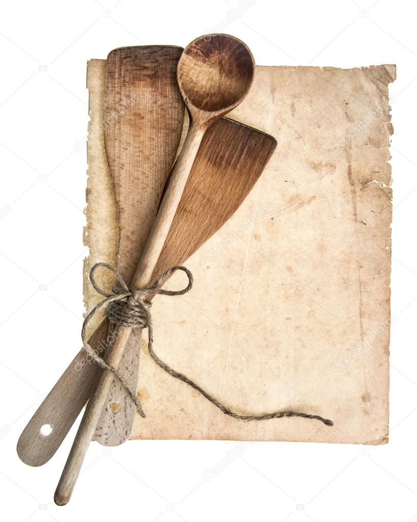 utensilios de cocina de madera vintage y antigua pgina de recetas u foto de stock